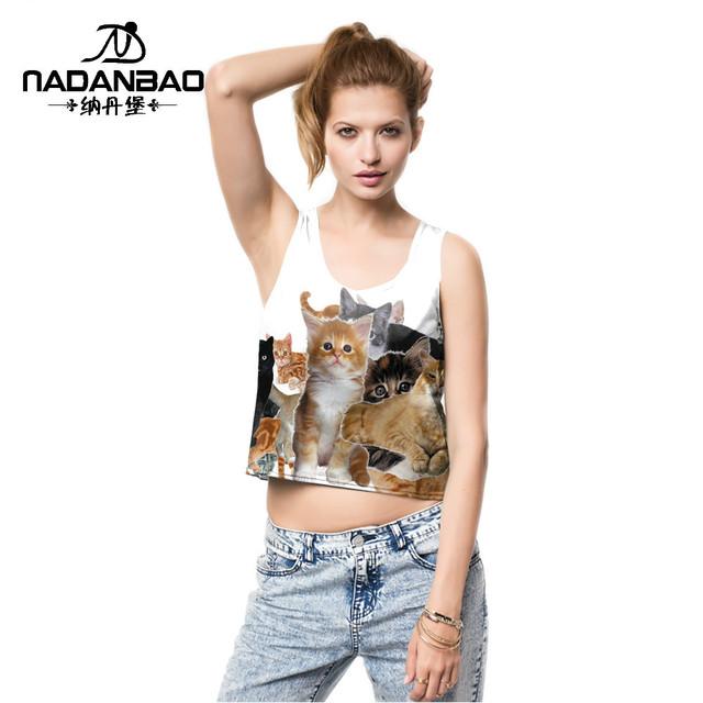 2016 verão Bonito gatos design de impressão digital de sexy pequeno tops topo colheita blusa cropped feminino bralet