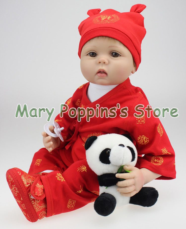 Здесь продается  NPKCOLLECTION New 55cm silicone reborn baby doll Vinil Body Doll China Red Boy Baby Reborn Doll comes with Panda, brinquedos toy  Игрушки и Хобби