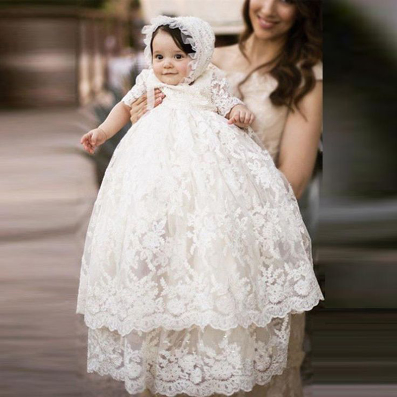 Hot Sale Baby Long Ivory Christening Gown Lace New Birthday Baby Dress Baby Girl Christening Gowns Baptism Dresses with hat baby christening dress empire waistline short sleeves lace appliques ruffled baby girl baptism birthday gowns hot sale