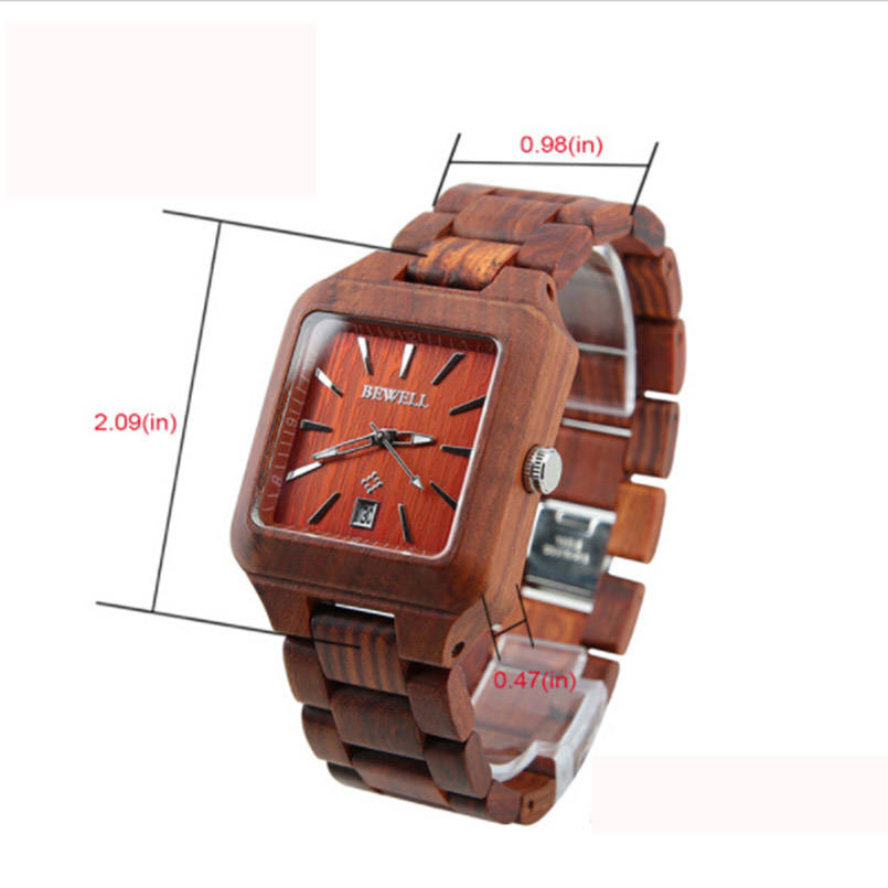 BEWELL luxe houten horloges met kalender mannen mode antieke quartz - Herenhorloges - Foto 2