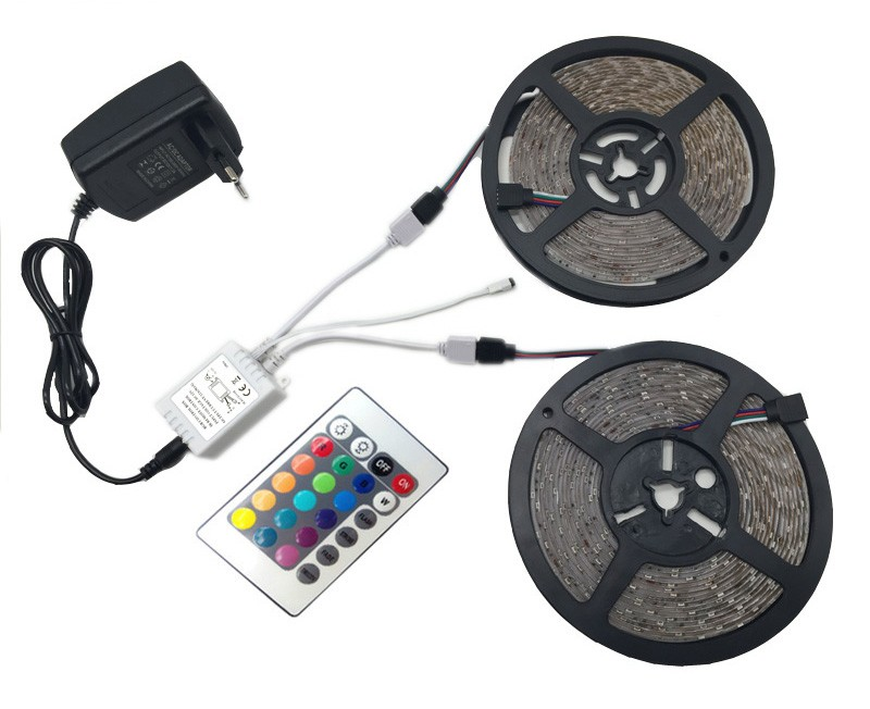 10m RGB LED strip light 3528 SMD diode ribbon tape 60leds m 600leds+44 Key IR remote controller +DC 12V Adapter Power Supply set (22)(1)