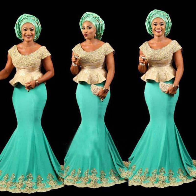Aso Ebi Gold With Green Long Mermaid Formal Party Dresses Plump Abendkleider Gonna Mermaid Gown 2019