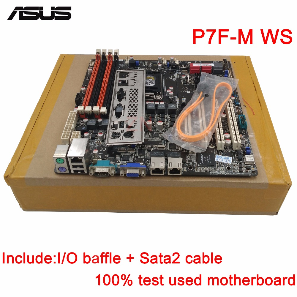 original Used Server motherboard For Asus P7F-M WS Socket 1156 Maximum 4*DDR3 32GB 6xSATAII ATX