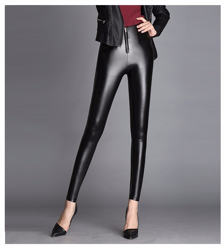 High Quality Black Pants Women Autumn Fashion Sexy Zipper Pu Leggings Pencil pants Pantalon Femme Leather Pants Plus Size 2016 b