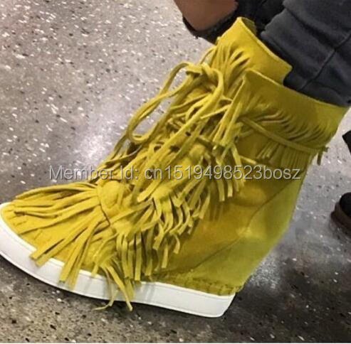 Latest Fringed Women Platform Wedge Casual Shoes Height Increasing Lace Up Suede Ankle Boots Spring Autumn Lady High Top Shoes solid color pocket hemming lapel long sleeve slimming trendy polyester blazer for men