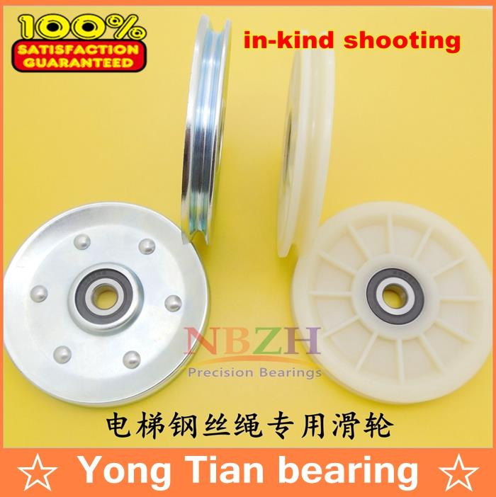 Elevator Pulley Elevator door hanging round parts U / V grooves Plastic nylon rope pulley BU109011 10*90*11 elevator parts rope wheel elevator rope roller 79x16x12