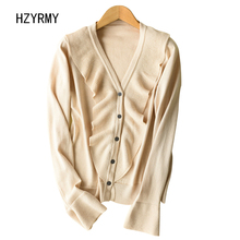 HZYRMY Spring Autumn New Women's Cashmere Cardigan V-Neck Fashion Long-Sleeve short Sweaters Wool Knit Soft Shirt Loose Jacket