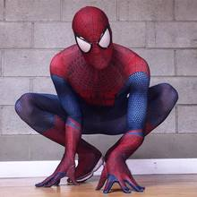 The Amazing Spiderman Costume 3D Original Movie Halloween Spandex Spiderman Superhero Costume Fullbody Zentai Suit