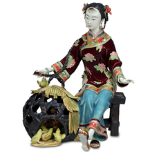 Laddy Sculptures Chineses Ceramic Female Dolls Hot Sale Antique Statues Glazed Porcelain Christmas Art Collectibles Chick Cage