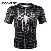 HoodCrew Brand t shirts Men Fashion 2017 Summer Mens Superman Captain Printing Quick-dry Tops Tees High Quality Sportswear XXXXL