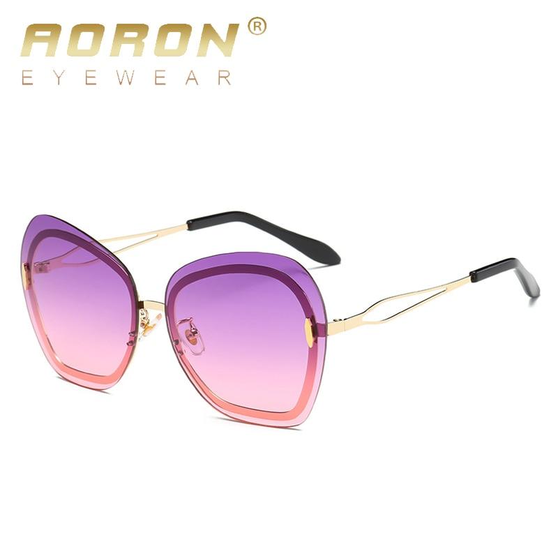 108bf6c44b AORON Rimless Sunglasses Women Pink Mirror Reflective Sun Glasses Alloy  Legs Elegant Style Glasses Original Design oculos-in Sunglasses from Women s  ...