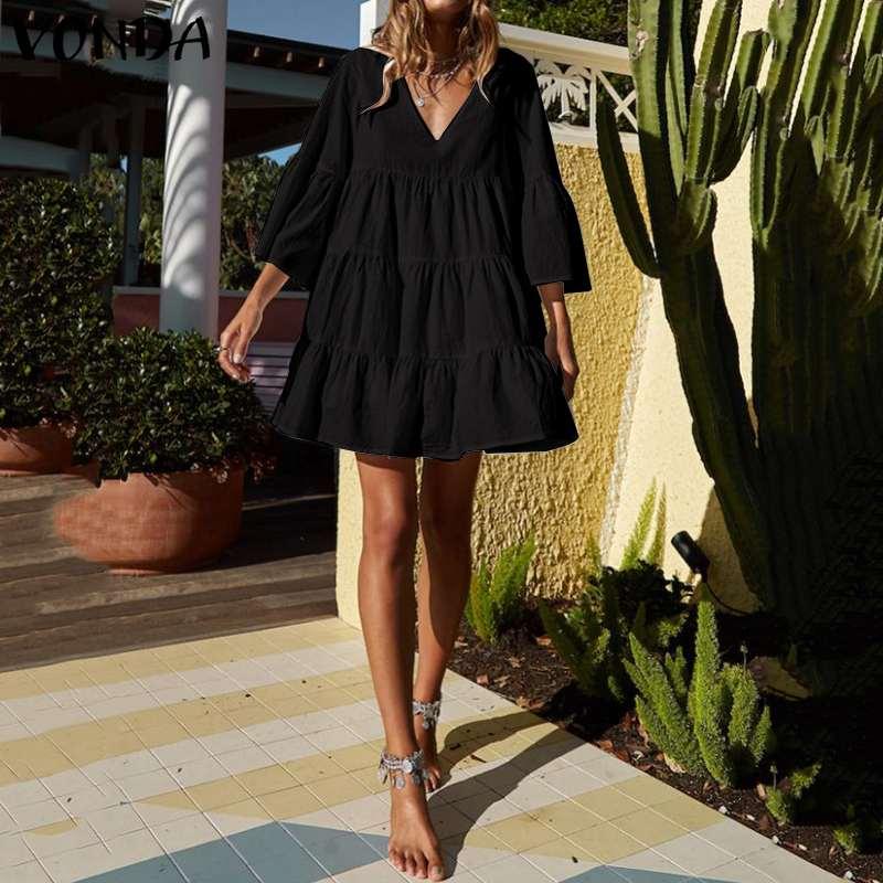 VONDA Women Party Dress Bohemian Sexy V-Neck 3/4 Flare Sleeve High Waist Beach Mini Dress 2020 Summer Vintage Vestido Plus Size