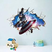 Marvel Мстители Американский Капитан Minecraft Звездные войны Покемон Стены Стикеры Детская Комната Наклейка 3D съемный Стикер Украшения