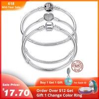 Роскошные 100% стерлингового серебра 925 Оригинал 7 стильные цепочки браслет для женщин подходит DIY Шарм бисера Аутентичные ювелирные изделия ...