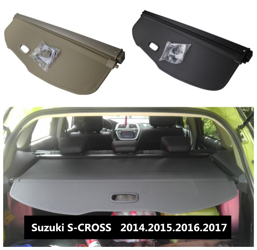 Car Rear Trunk Security Shield Cargo Cover For Suzuki S-CROSS 2014.2015.2016.2017 High Qualit Black Beige Auto Accessories lizard носки shield mid s black