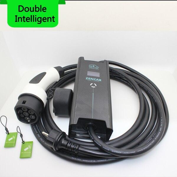 Capteur de température Schuko prise type 2 IEC62196 7 broches 8A 10A 16A réglable niveau 2 EVSE 5 m câble Électrique voiture chargeur de Maison