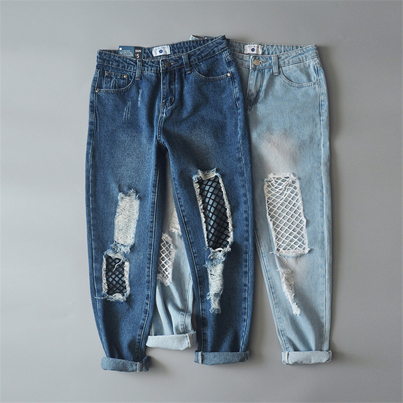 Casual hollow out Light blue denim jeans Slim summer Mesh Stitching hole ripped jeans female Cool boyfriend jeans pants denim overalls male suspenders front pockets men s ripped jeans casual hole blue bib jeans boyfriend jeans jumpsuit or04