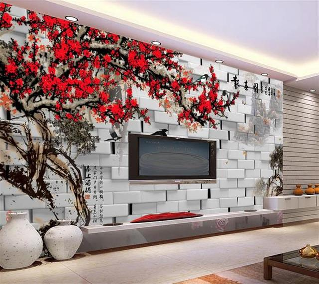 3d room photo wallpaper custom mural non woven wall sticker brick3d room photo wallpaper custom mural non woven wall sticker brick wall plum sofa tv