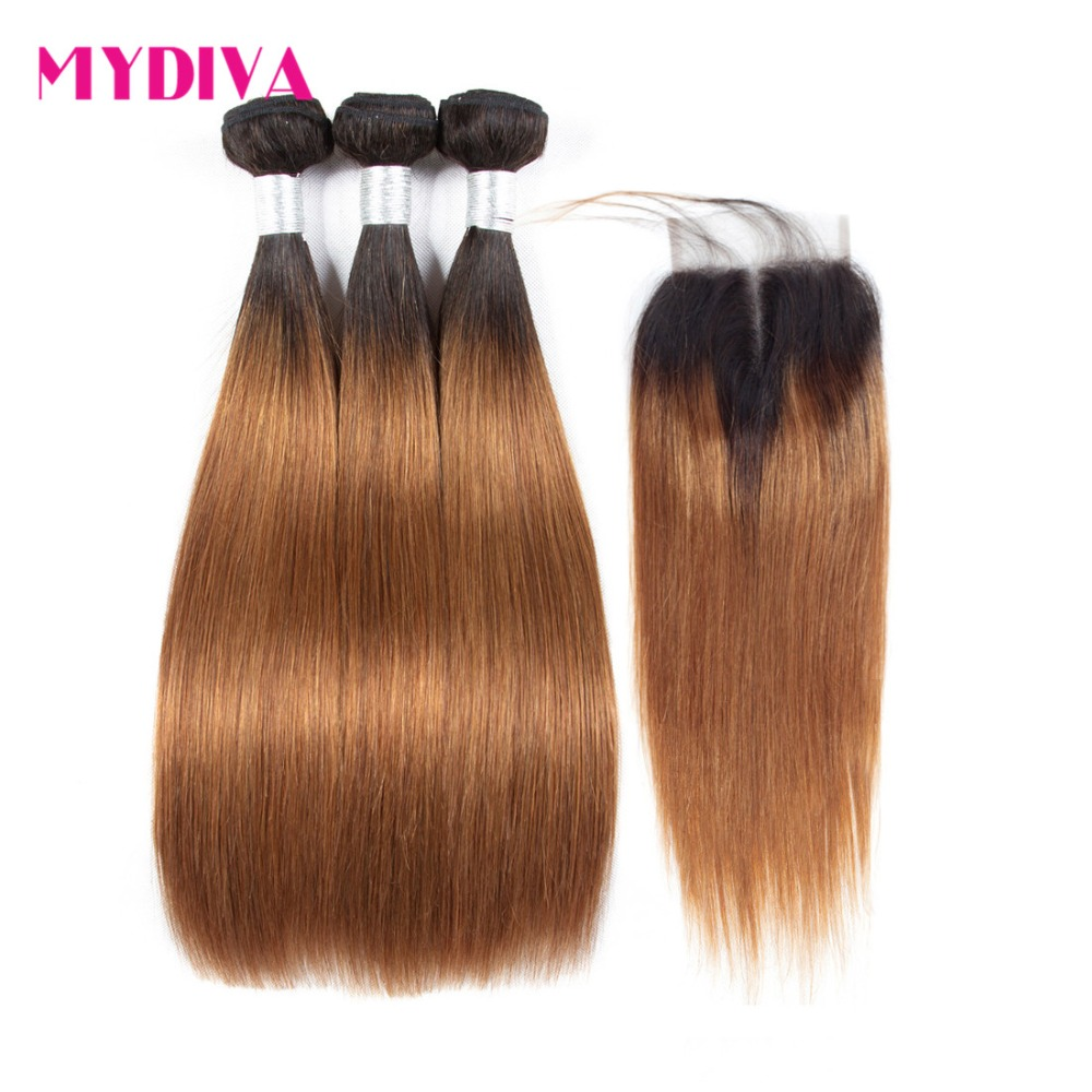 Mydiva Brazilian Hair Weave Bundles With Closure Straight Ombre Brown Human Hair Bundles With Closure Non