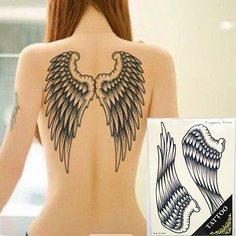 34*23cm Large Full Back Color Wing Pirate Cross Design Temporary Tattoo Stickers Body/back Painting Drawings Waterproof Cool Men