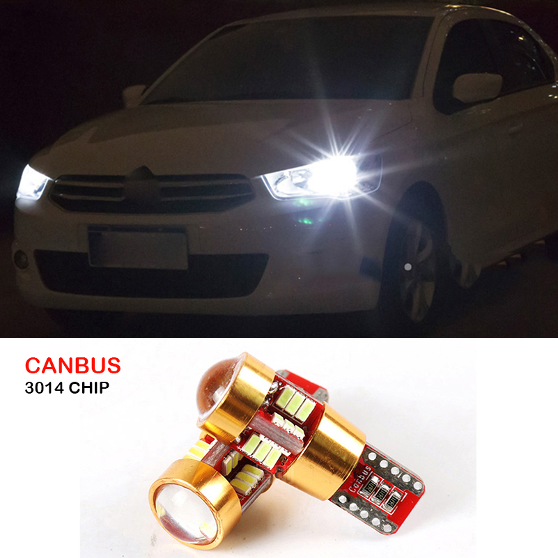 2x Canbus T10 W5W 3014 SMD 27 LED Car Wedge Lights Lamp Side Parking Clearance Light For Citroen C4 C5 C3 C2 Berlingo Xsara Saxo deechooll 2pcs wedge light for mazda 2 3 5 6 mx5 rx8 cx7 626 gf gg ge gw canbus t10 57smd 6w led clearance xenon lighting bulbs
