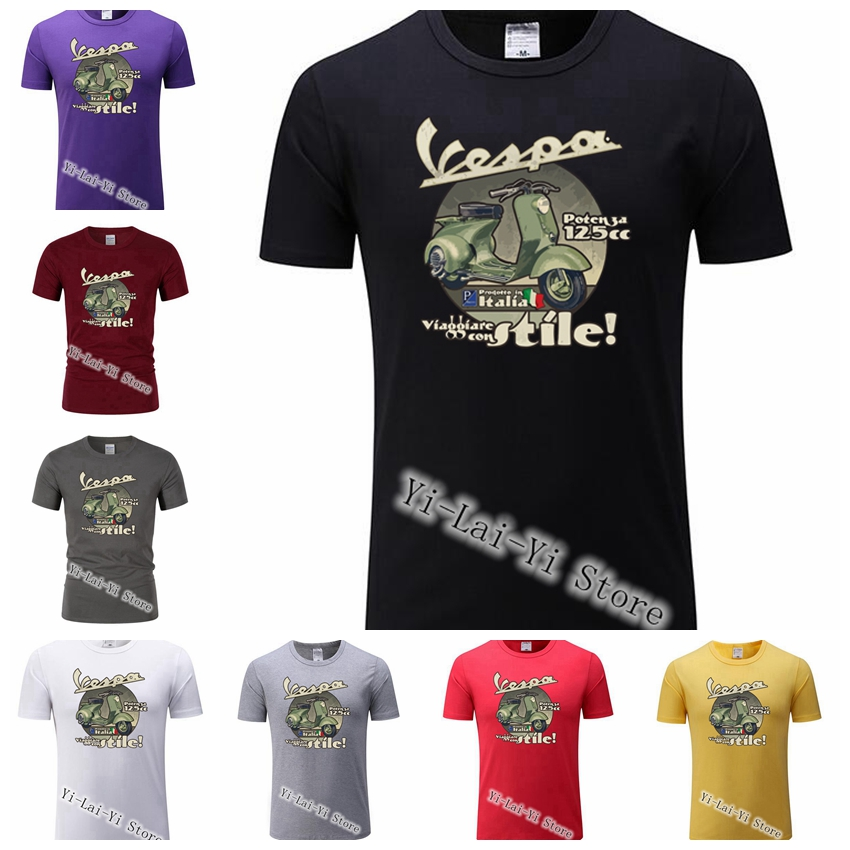 Motorcycle Italy Coming Vespa PX 125 Man   T     shirt   Made Loose Tops Men's TShirts Round Neck Tees Teenage Latest Unique Tee TShirt