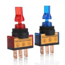 цена на 4pcs 12V 20A Blue Red Green Orange LED Light Toggle Rocker Switch For LED Illuminated Momentary Switch