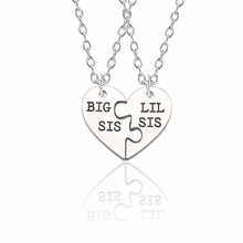 Fashion Creative BFF Best Sisters Forever Necklace Womens Jewelry Broken Heart Big Sis Small Pendant Christmas