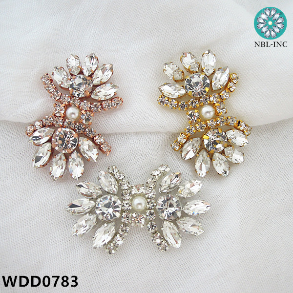 100PCS Wholesale hand beaded clear crystal rhinestone applique patch for wedding dresses WDD0783