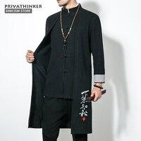 Sinicism Store 5XL Long Length Jacket Men Trench 2017 Cotton Linen Fabric Male Embroidery Jacket Coat Windbreaker Size Plus