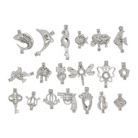 19 adet Gümüş Ton Karışık Hayvan Şekilli Kolye Bilezik Takı Yapımı DIY İnci Boncuk Cage Madalyon Kolye Esansiyel Yağı Difüzör