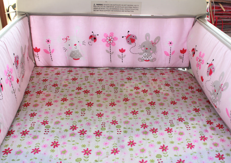 5pcs Embroidery pattern Crib Bedding Sets,100% Cotton Baby Bedding Set,Crib Sheet Baby Bumpers ,include (4bumper+bed cover)