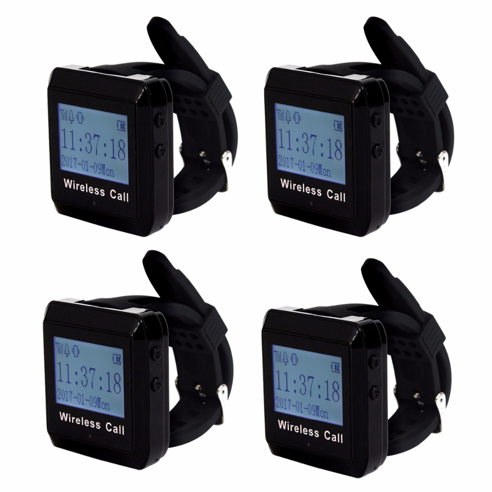 4pcs 433MHz Restaurant Wireless Calling System Watch Pager Receiver Waiter Call Pager Restaurant Equipment F3258 1 watch receiver 10 call button 433mhz wireless pager calling paging system restaurant equipments customer service f3258