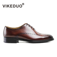VIKEDUO Luxury brand Vintage Custom Fashion Mens Oxford Shoes Wine Red Wedding Dress Shoes Handmade Genuine Leather Footwear