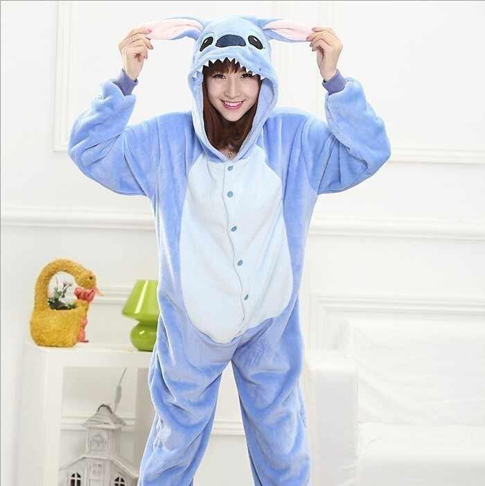 Bleu Onesie manches rose adulte animal à capuche Onsie pyjamas femmes flanelle gris Kigurumi Homwwear une-pièce hommes Long chaud ABABB816