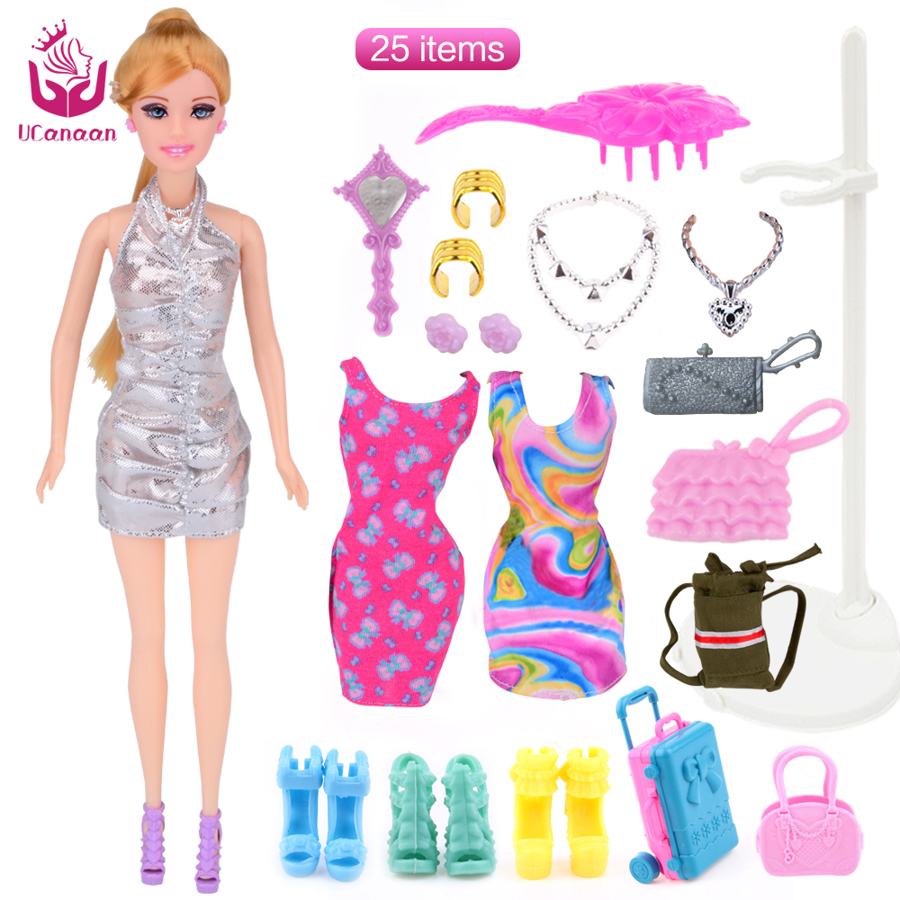 UCanaan Travel Lisa Dolls with 25 Accessories Fashion Clothes Dresses Doll Toy Long Thick Hair Joint Body Christmas Blyth DIY american girl doll clothes for 18 inch dolls beautiful toy dresses outfit set fashion dolls clothes doll accessories