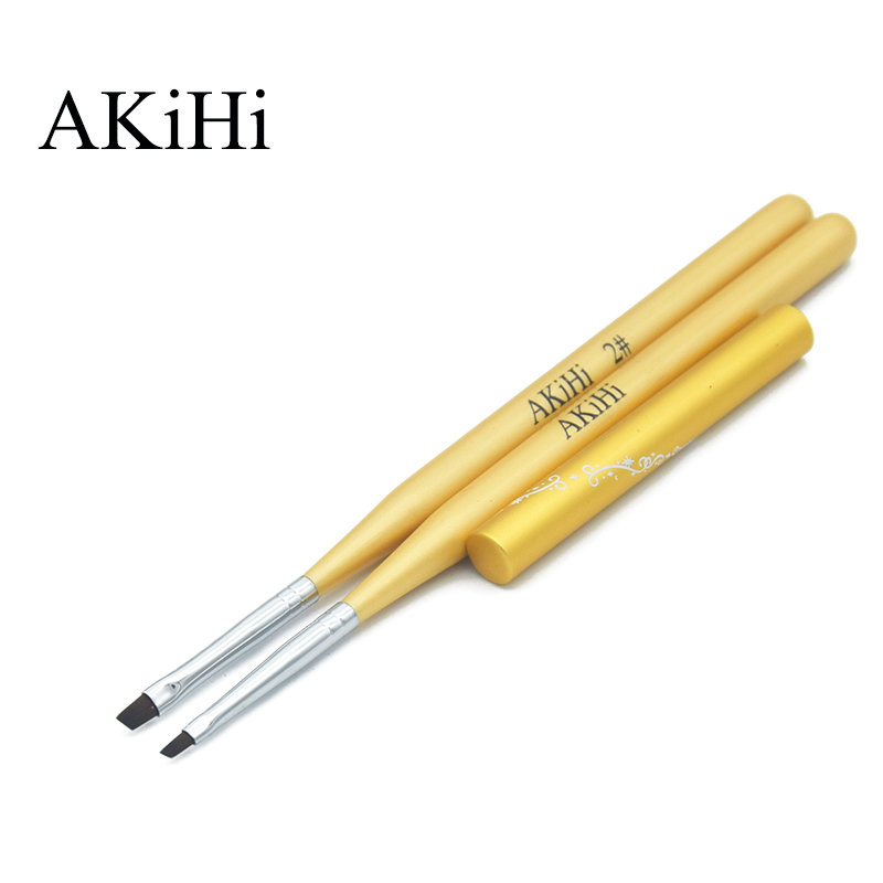 AKiHi 2Pcs/set Golden Handle Angular Flat Brushes Nail Art 3D Design Painting Drawing Pen Polish Gel UV Manicure