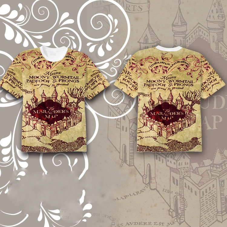 Harri Potter The Marauder's Map Full Printed T-shirt Tee Tops Short Sleeve Summer Cosplay Costume Unisex T Shirt Fashion Gifts