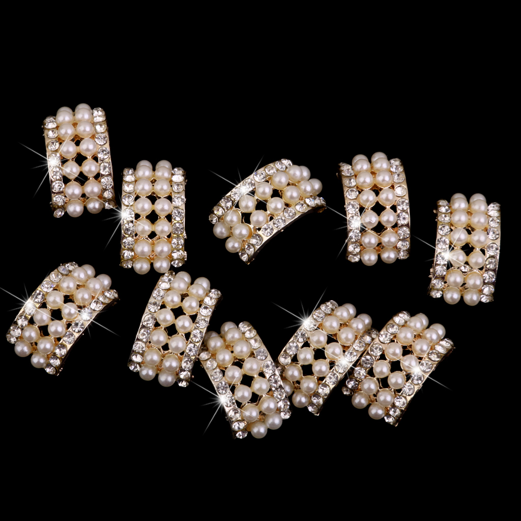 phenovo 10pcs gold crystal rhinestone
