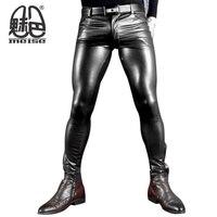 2017 Nuevo más tamaño Faux cuero Pantalones hombres negro y rojo brillante elástico clubwear Pantalones estrechos gay Club dancewear