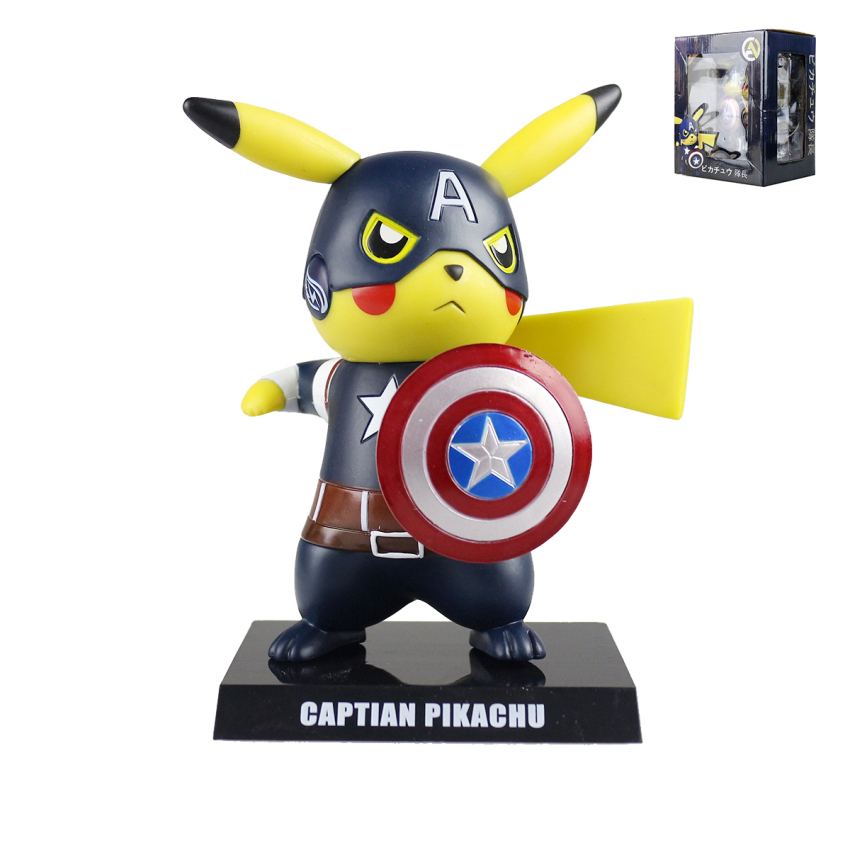 Anime Pocket Monster Cute Pikachu Action Figure PVC Cosplay Captain America Cool Pikachu Doll Collectible Model Toys MV097017 anime cartoon doraemon cosplay iron man captain america pvc action figure collectible toy