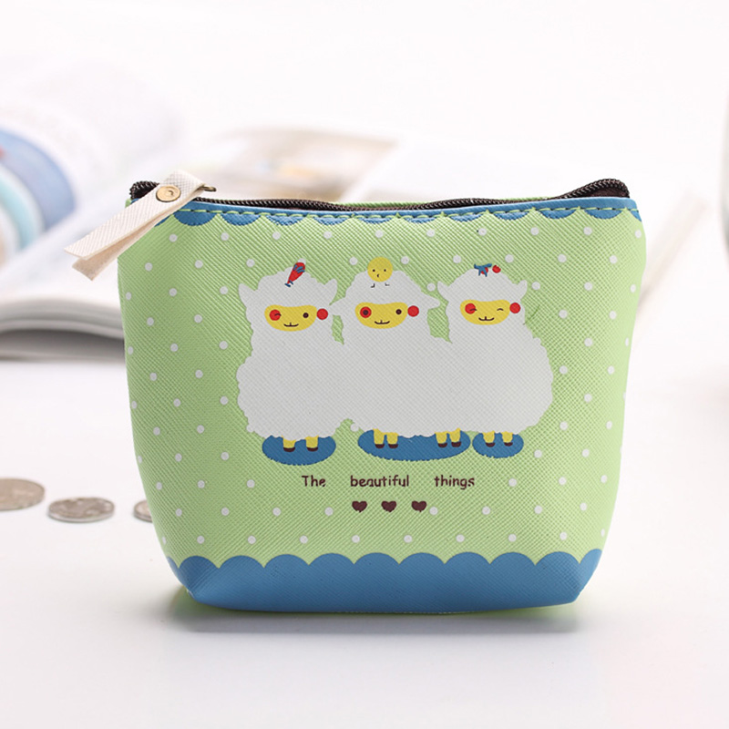 New Candy Color PU Leather Women Coin Purse Korean Style Cute Sheep Money Wallet Business Card Bag Key Wallet Monedero Mujer