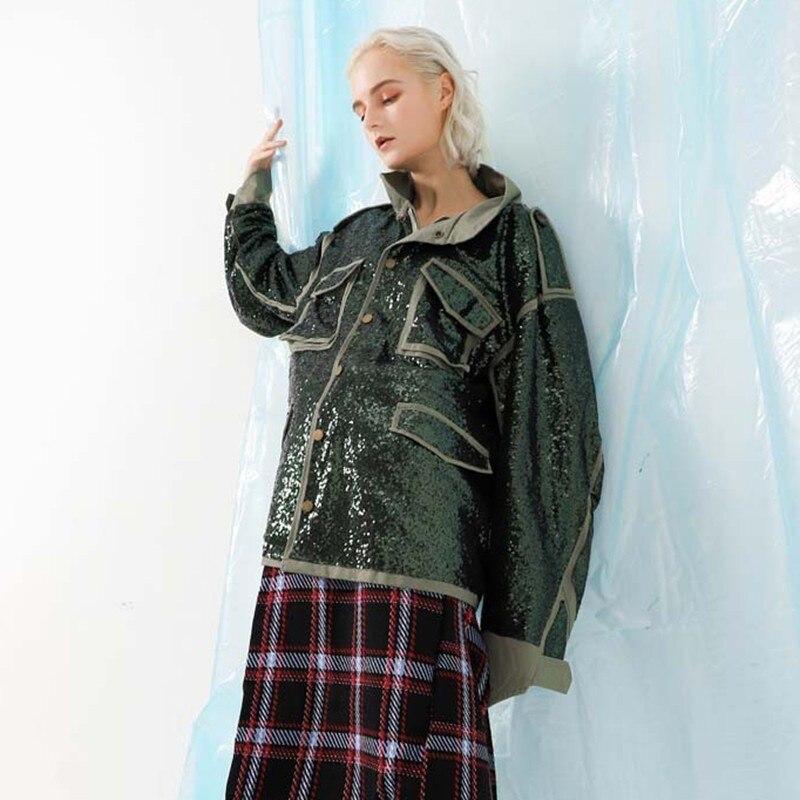 Vestes Longues Veste Gladself Femme Style Punk Vêtements Automne Green Femmes Manches Surépaisseurs Sequin Patchwork Coat De Manteau Mode À 2018 x81IvdI