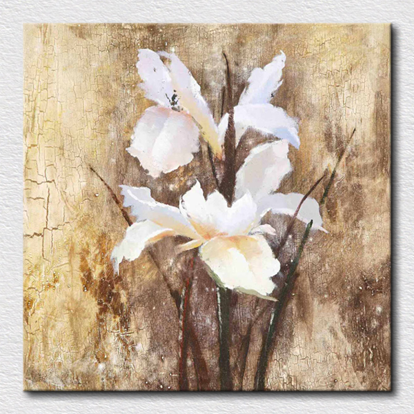 Modern white flowers painting canvas handmade oil paintings for ...