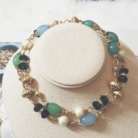 4003a881dd8f Fashion Retro Exaggerated Green Beaded Pendant Necklace Female Long Sweater  Chain Necklace Decoration Accessories R