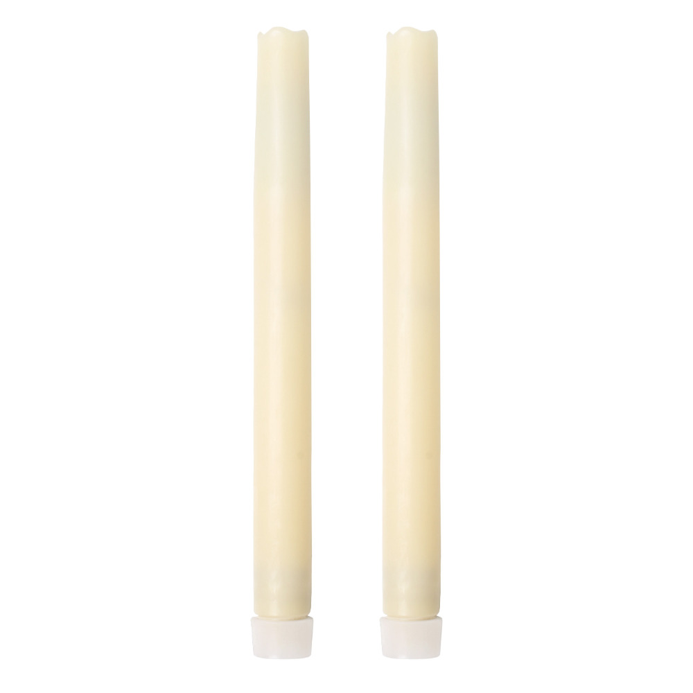 Home Impressions Battery Operated Smooth Flameless Real Wax Melted Led Taper Candle light,Six Hour Timer,9-inch, Ivory,pack of 2