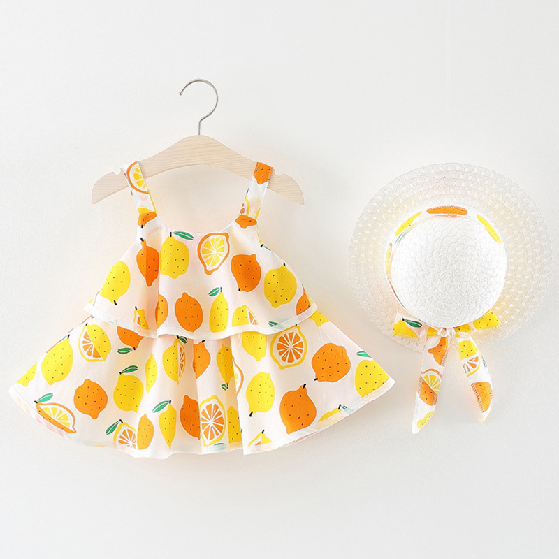 Melarie Baby Girls Dress 2018 Summer Baby Girl Clothes Lemon Straw Hat Bow Strap Princess Dress Children Kids Dress