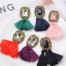 6 Colors Vintage Dangle Earrings For Women Fringe Jewelry Bohemia Long Tassel Crystal Drop Earrings High Quality bohemia round fringe dangle earrings