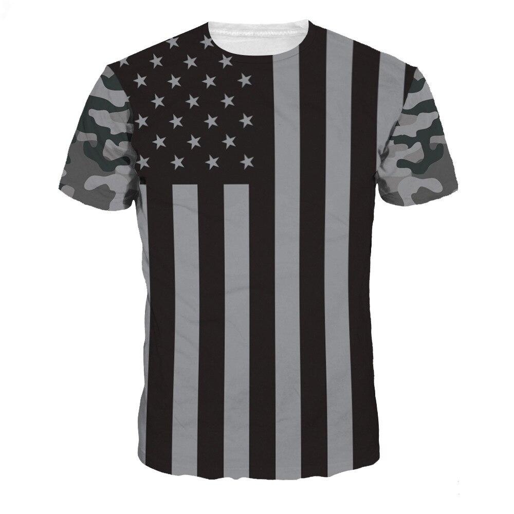 Новинка 2017 года модные высококачественные Для мужчин Для женщин 3D крутая рубашка принт черный американский флаг короткий рукав лето Футбол...