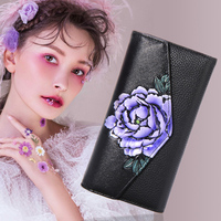 Leather Wallet 2018women's New Handmade painted flower long card package multi functional national wind hand bag